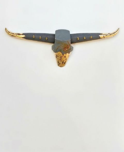 Cattle Skull Wall Art - METALLIC ACCENTS - *ONE-OFF*